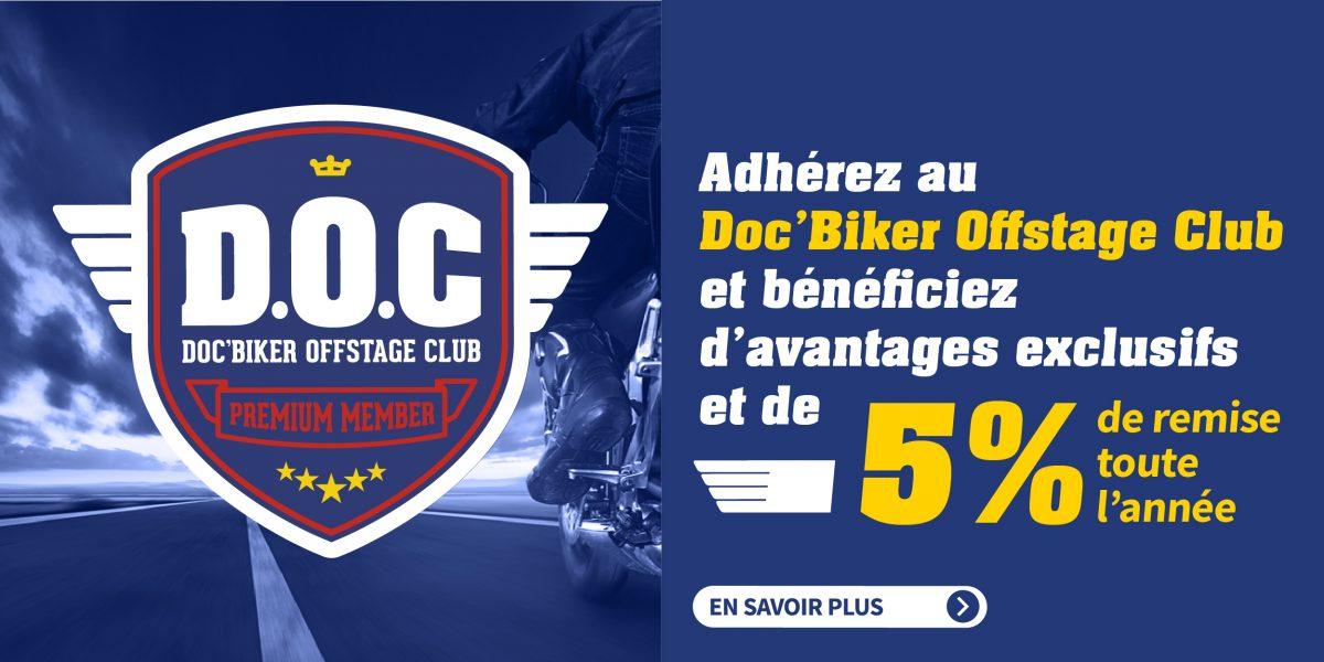 Rejoignez le club Doc'Biker et profitez de 5% de remise